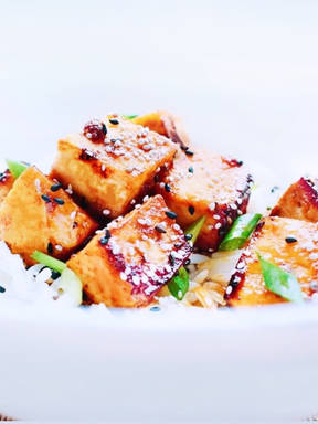Honey ginger tofu and rice