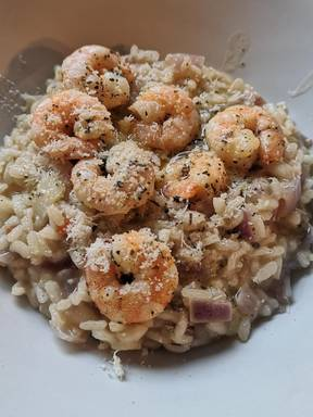 The simplest shrimp mushroom rissoto