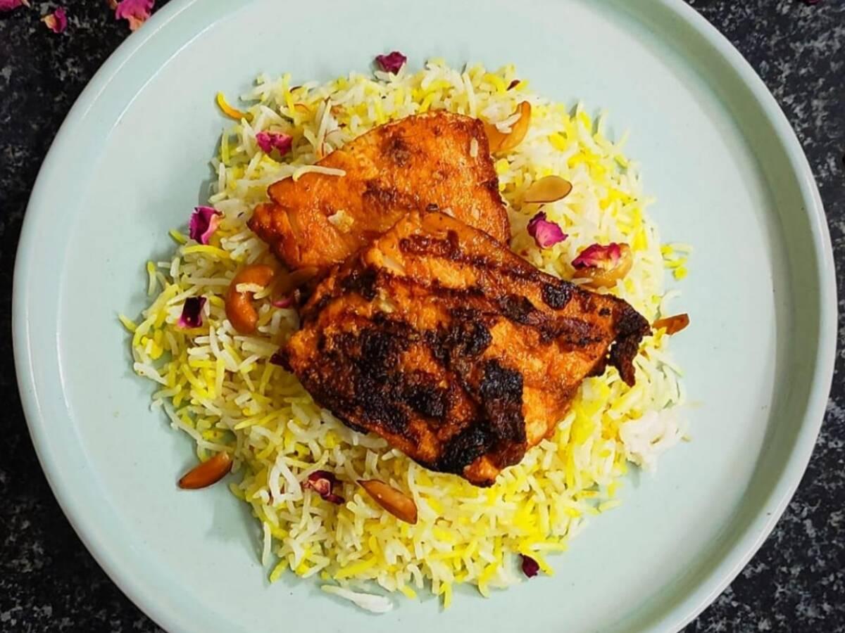 Charred Fish on Saffron Rice