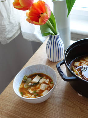 Korean-inspired white bean soup with tofu