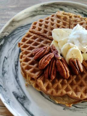 Sweet potato& banana waffles