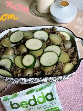 Veganer Hack-Kartoffel-Zucchini Auflauf
