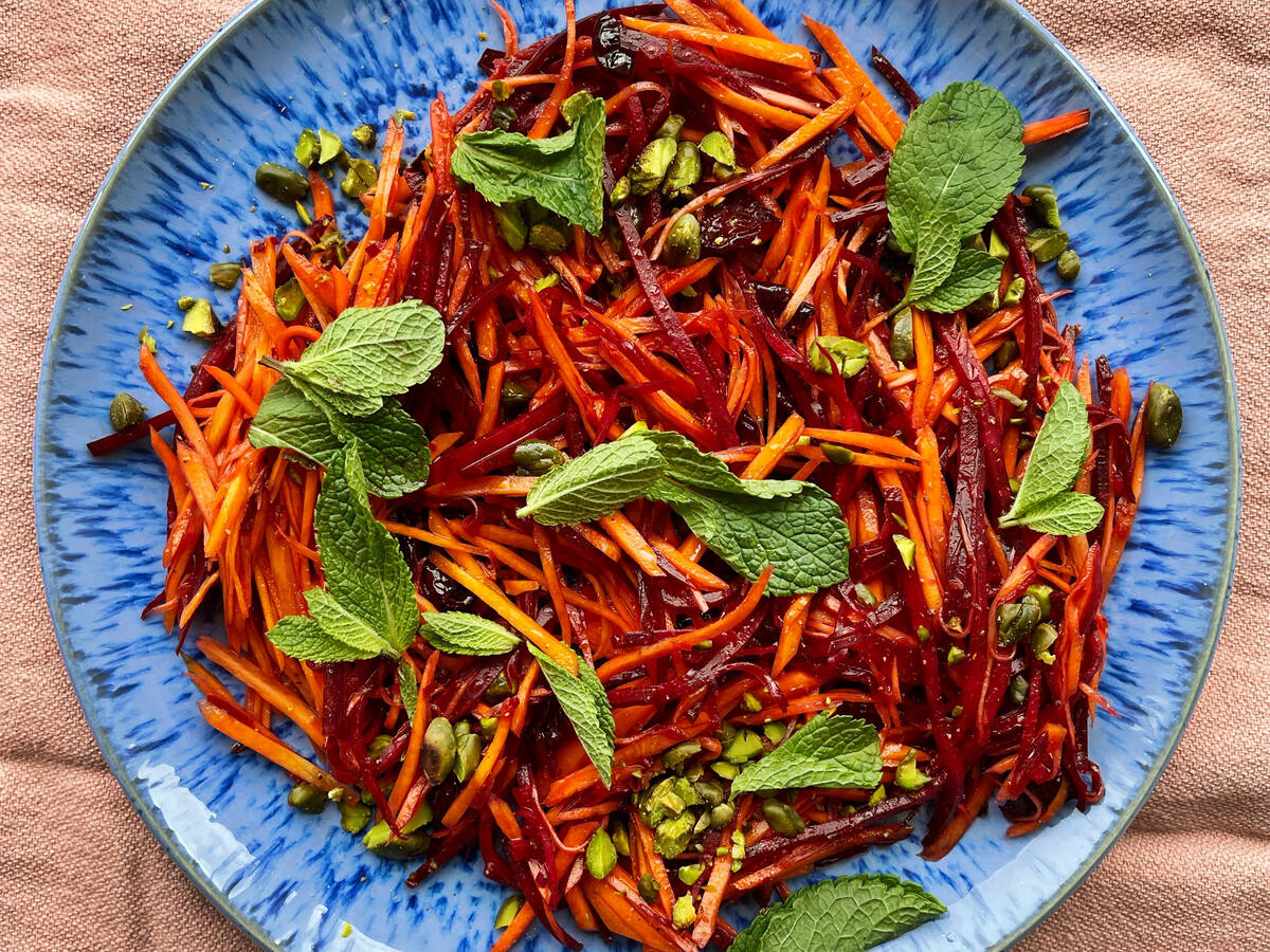 Carrot salad with cranberries and pistachios