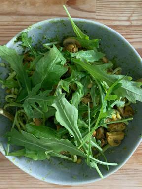 Vegan Wild Garlic Pesto-Pasta , w/Mushrooms and Rocket