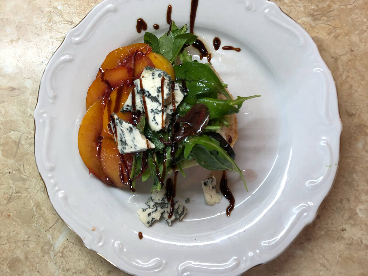 Blue cheese and peach ciabatta salad