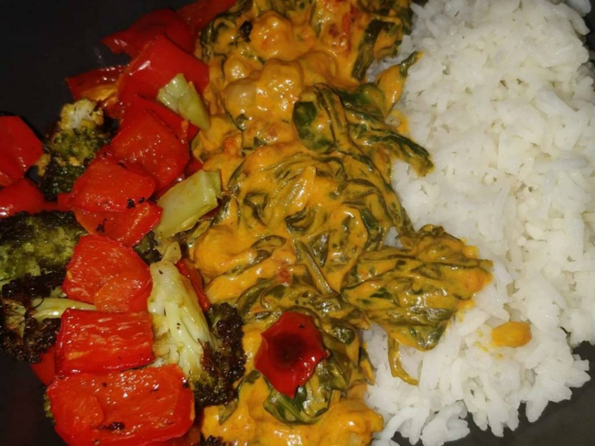 Vegetarian curry rice Berlin style