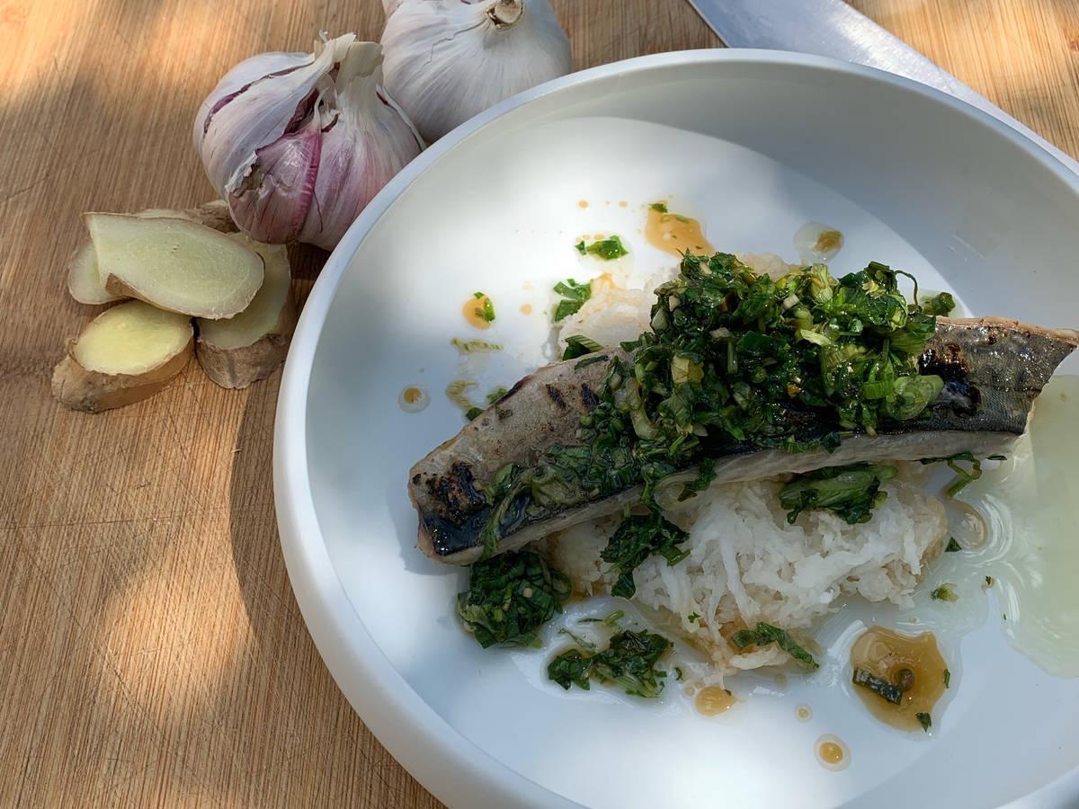 Gebrannte Makrele auf weißem Rettich/Kräutervinaigrette