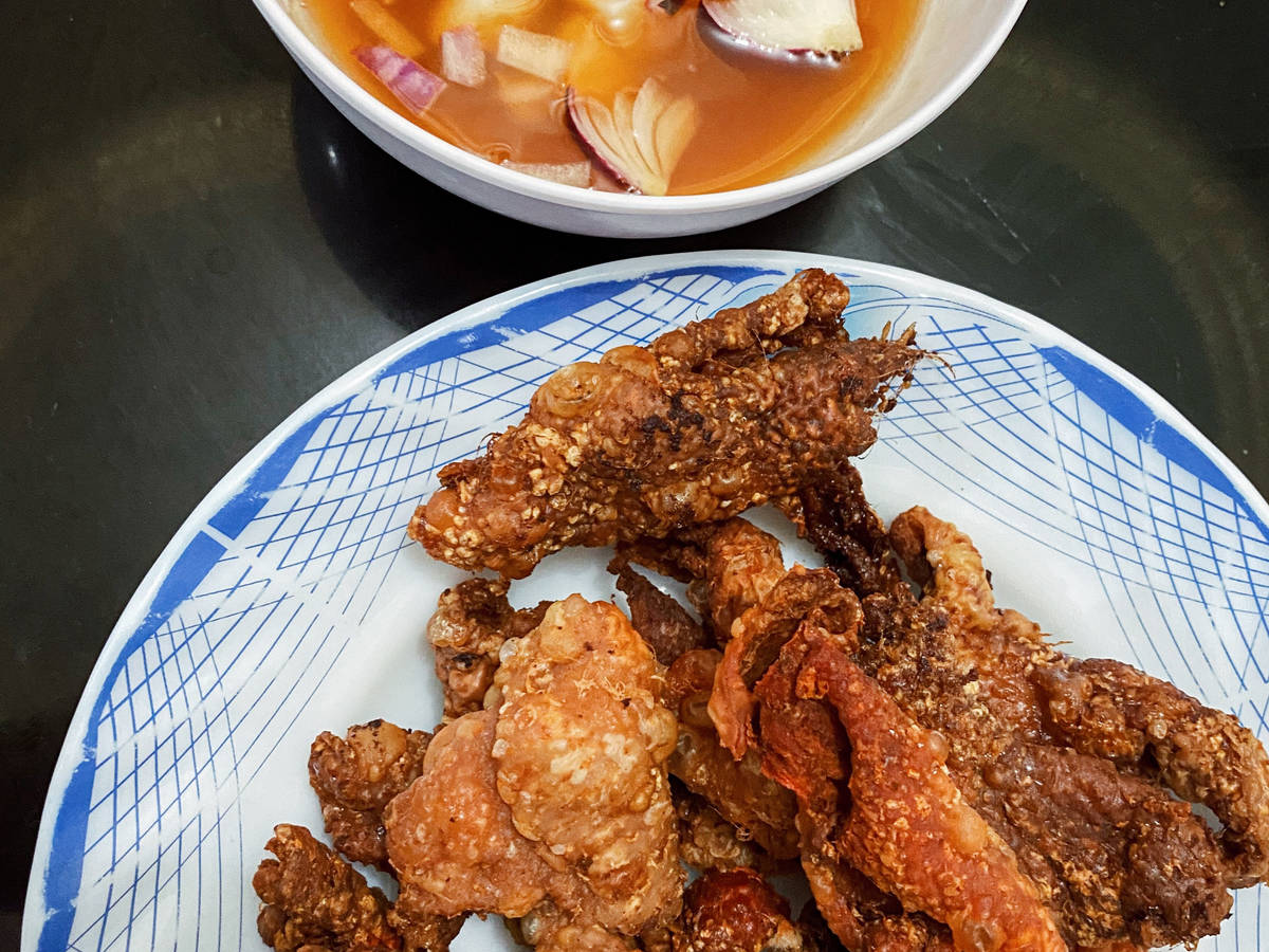 Crispy chicken dish + spicy vinegar dip