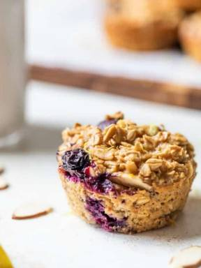 Baked Blueberry Lemon Oatmeal Muffin Cups