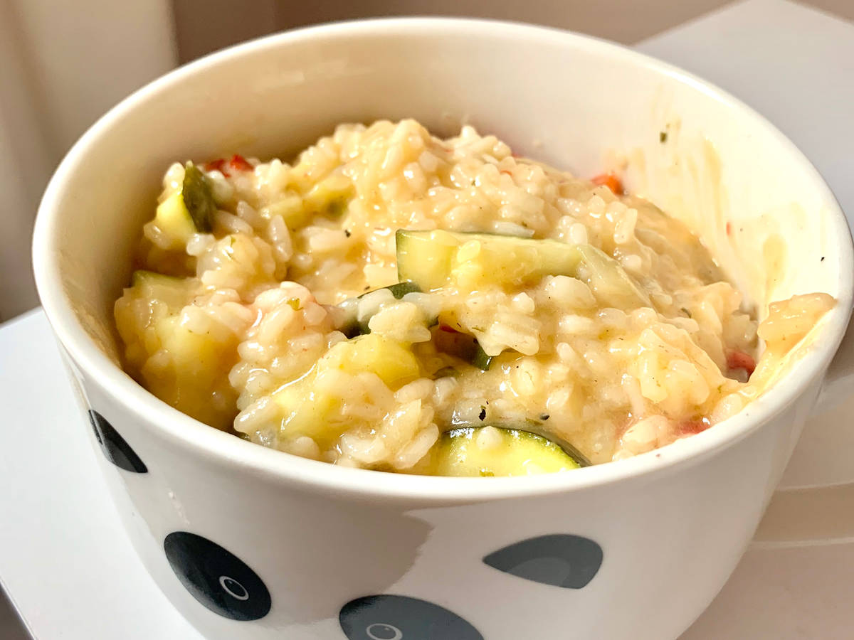 Courgette and roasted pepper risotto