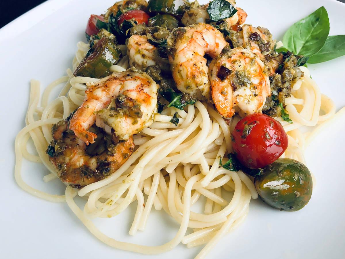 Pesto Prawn Spaghetti