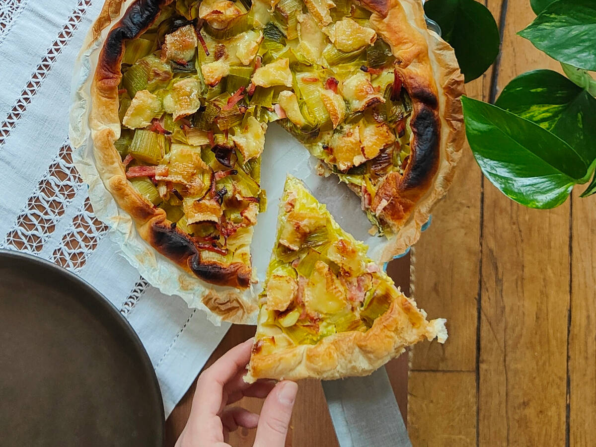Leek, ham & goat cheese pie