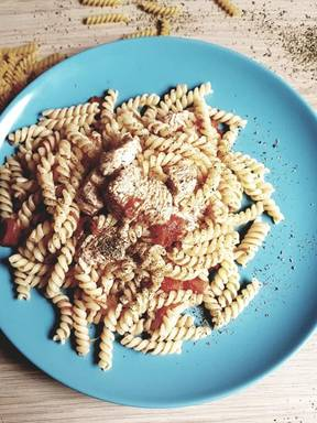 Greek pasta with Turkey and homemade tomato sauce