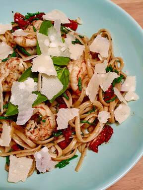 Spaghetti aglio, olio e gamberi