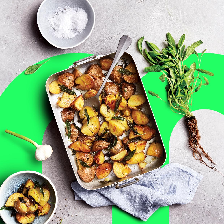 Infarm Salbei Kartoffeln aus dem Ofen