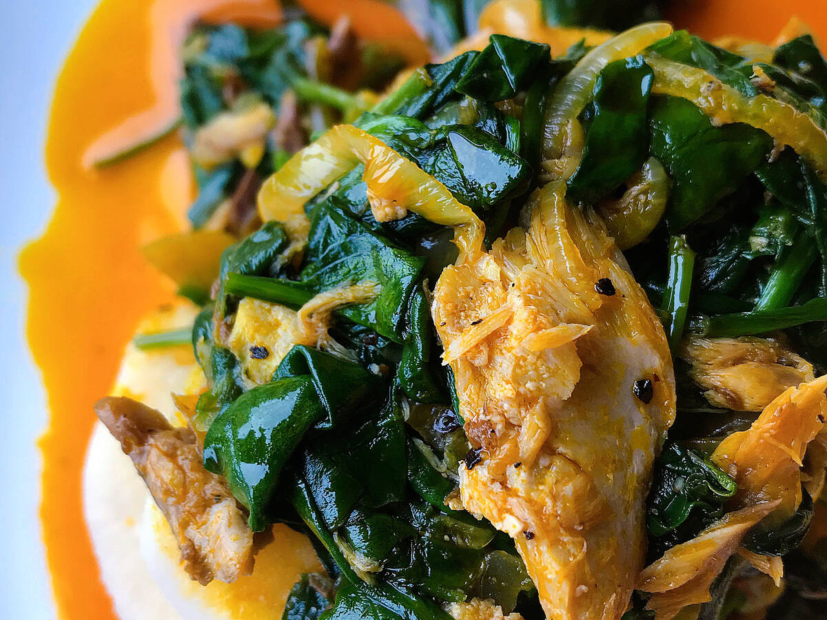 Nigerian Boiled Yam with Spinach & Mackerel