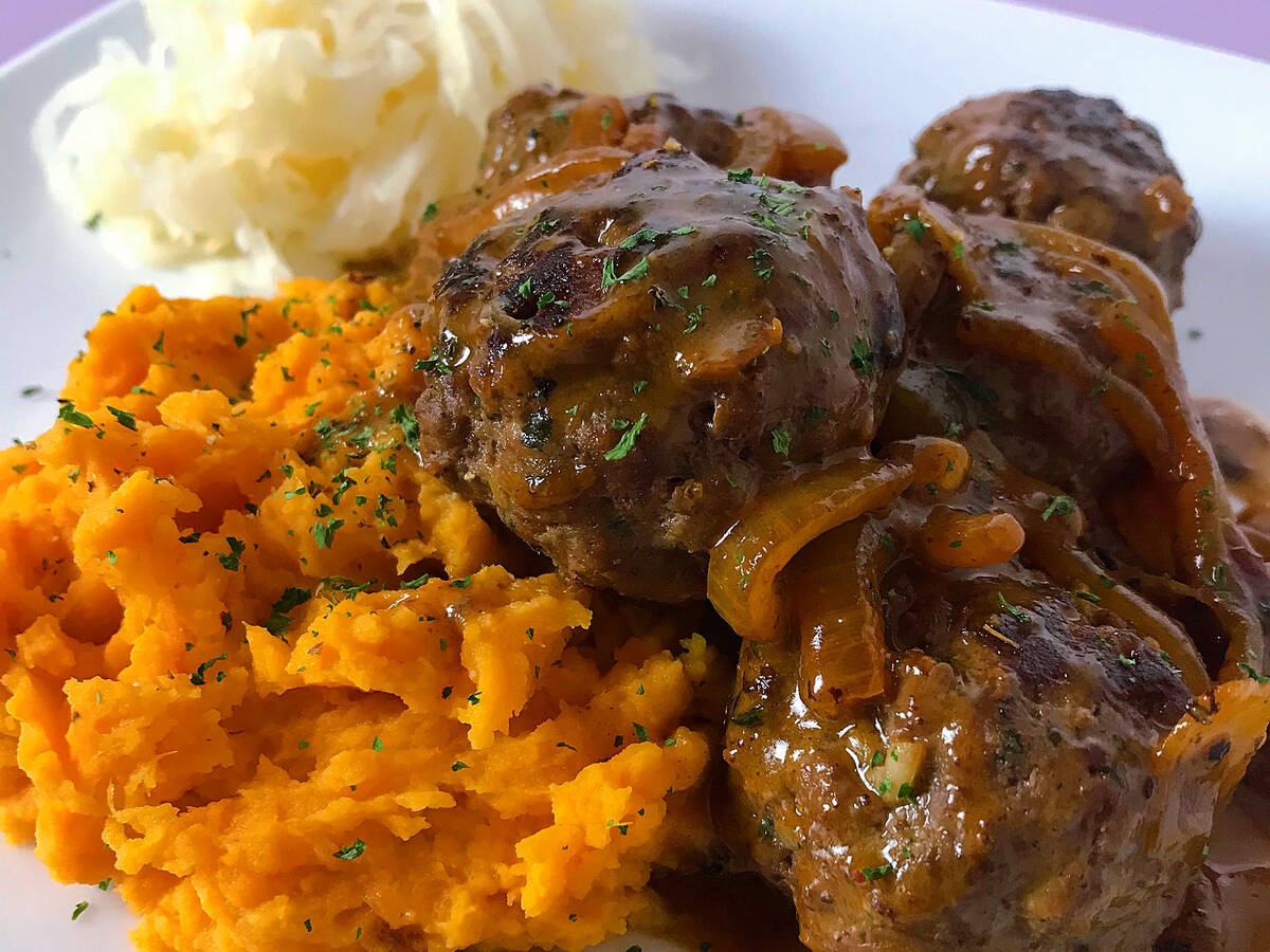 Beef Meatballs in a Dairy-free Creamy Onion Sauce