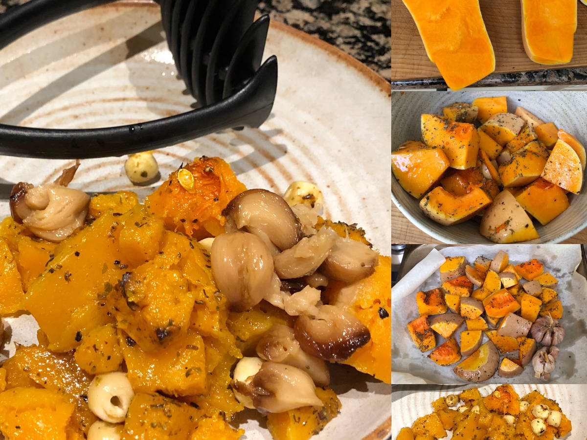 Roast Butternut Squash, Lotus Seeds and Garlic Tahini