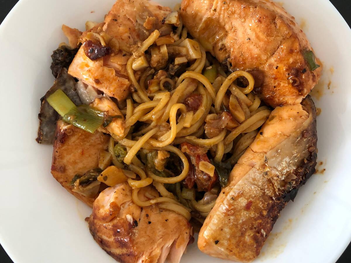 Teriyaki Salmon with noodles