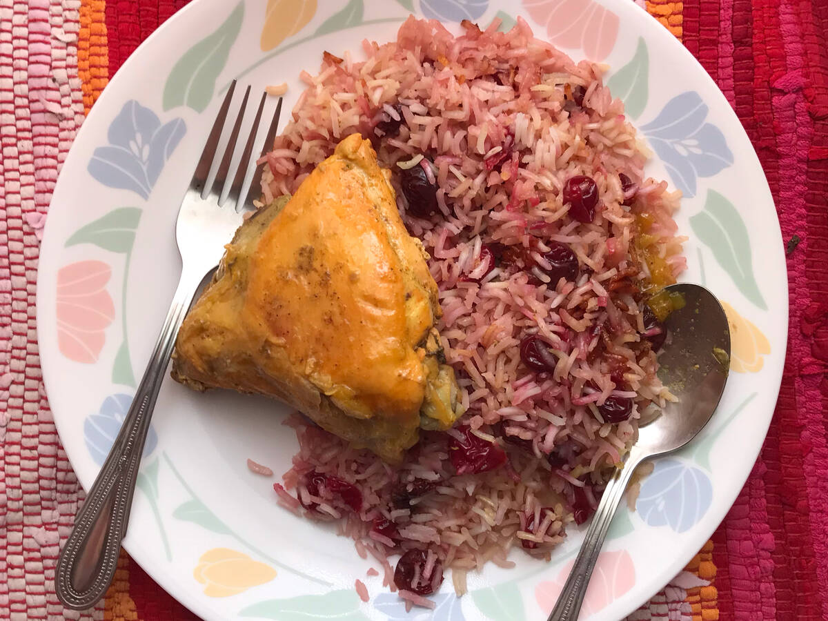 Sour Cherry and rice with fried chicken