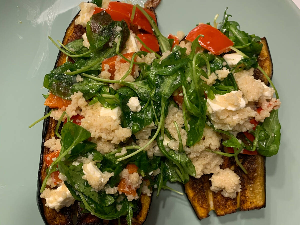 Roasted Eggplant with Couscous Salad