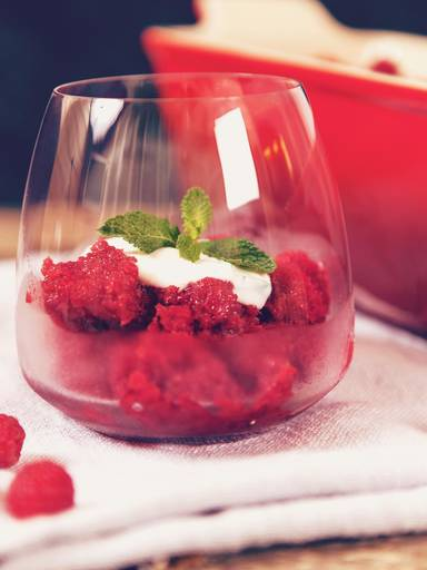 Raspberry granita with mint yogurt
