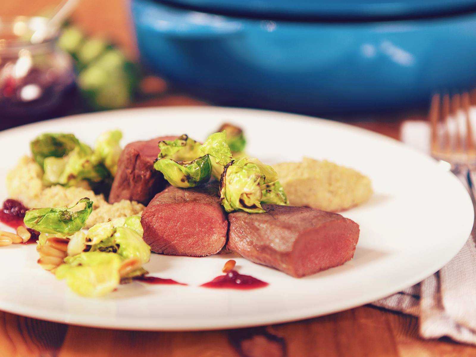 Saddle of venison with Brussels sprouts