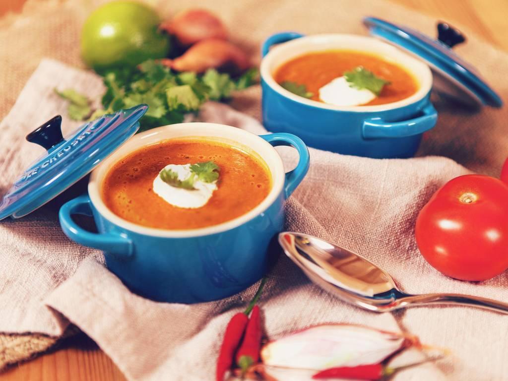 Roasted tomato soup with cilantro crema