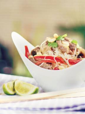 Thai noodle and beef salad
