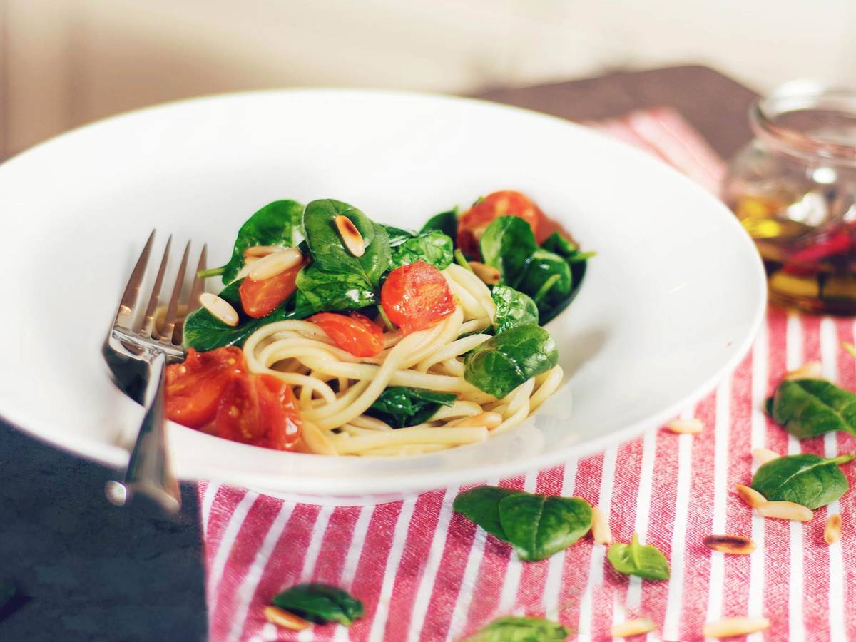 Linguine with sage butter and baby spinach