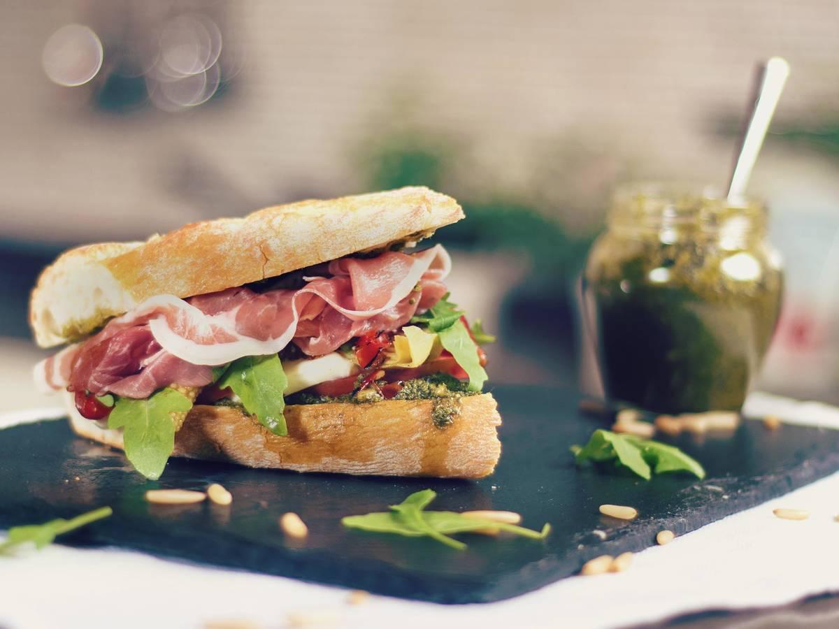 Italian sandwich with prosciutto di Parma