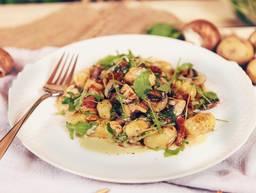 Homemade gnocchi with mushroom sauce