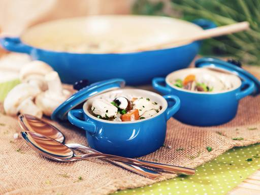 Chicken fricassee with young vegetables