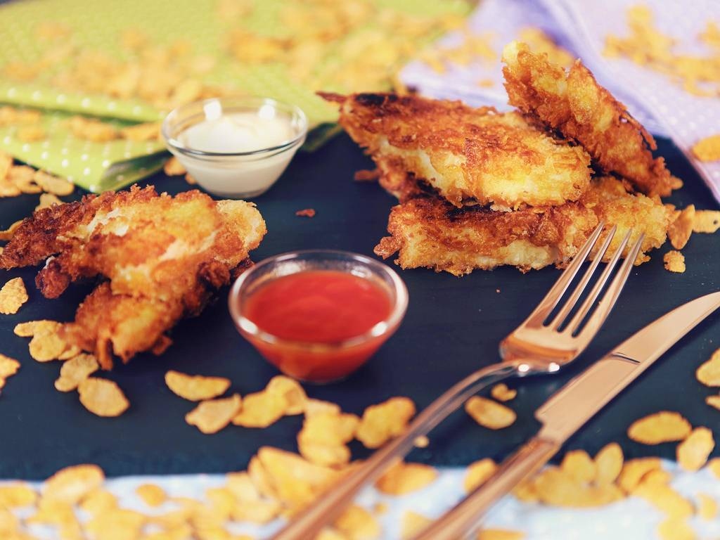 Cornflake-crusted crunchy fish sticks