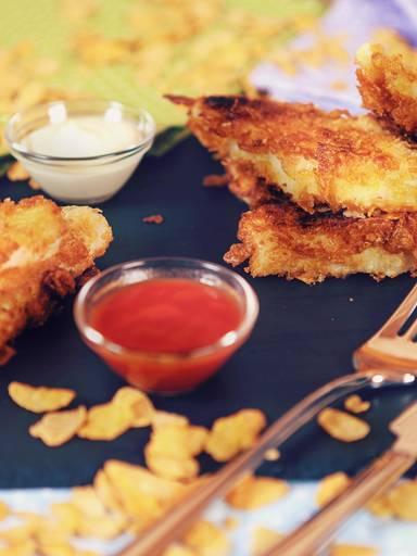 Fischstäbchen in knuspriger Cornflakespanade