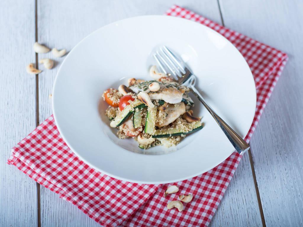 Chicken zucchini couscous salad