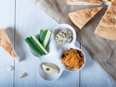 Hummus, baba ghanoush and carrot salad trio