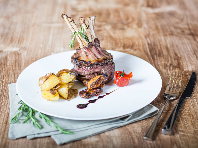 Rack of lamb stuffed with dried figs