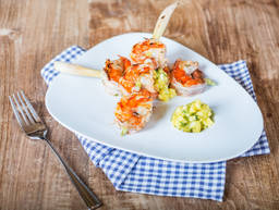 Marinated shrimp with mango salsa