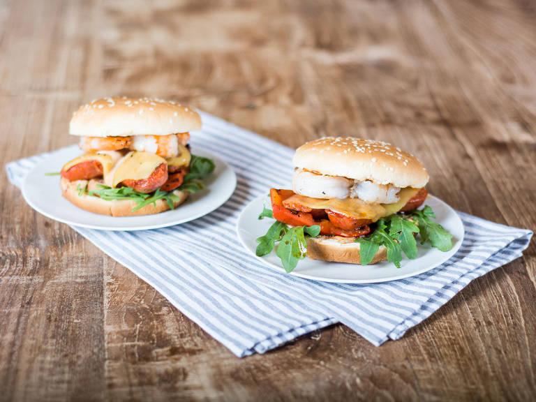 Grilled chorizo and shrimp cheeseburger