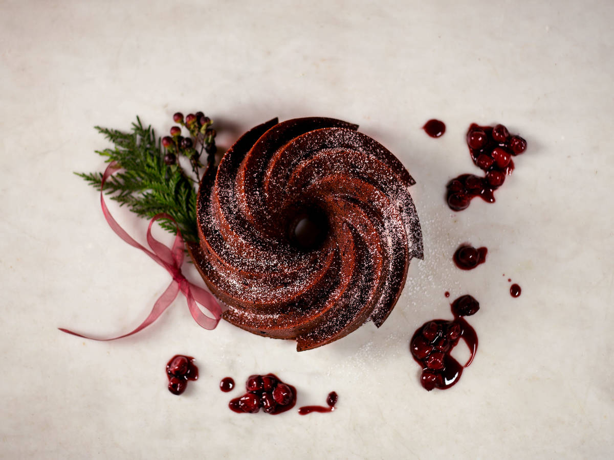 Cherry chocolate rum cake