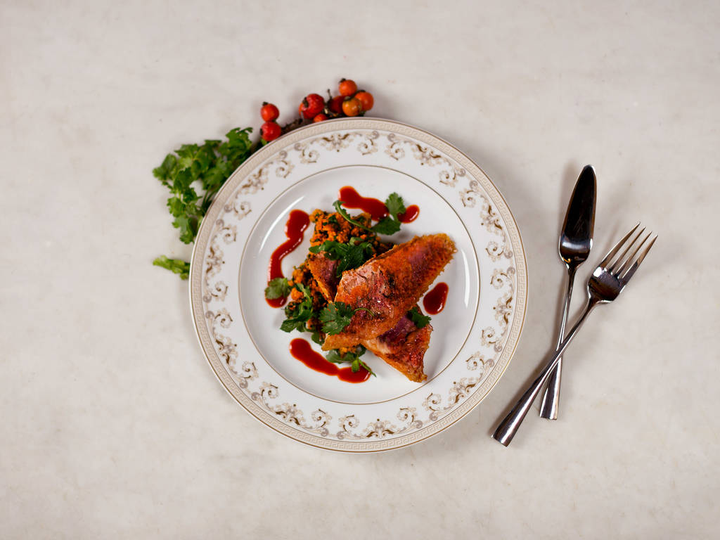 Crispy red mullet with paprika couscous