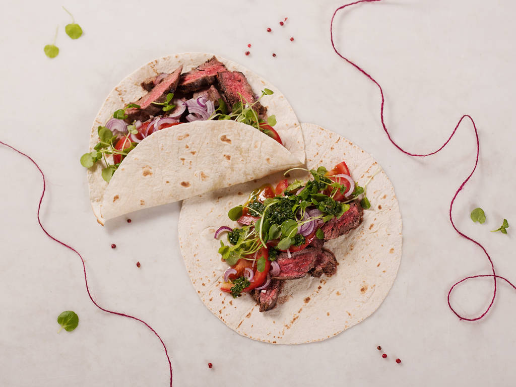 Skirt Steak Tortilla mit Chimichurri-Soße