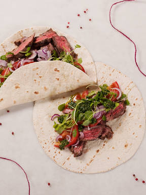 Skirt steak fajitas with chimichurri sauce