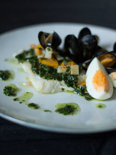 Hake with mussels and salsa verde