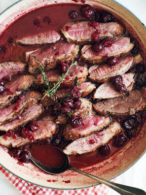 Seared duck breast with cherry-Port wine sauce