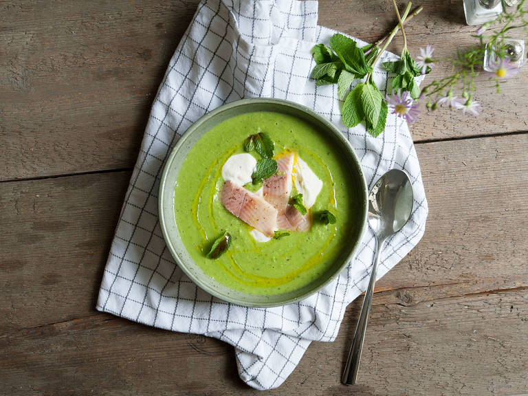 Pea soup with smoked trout and mint