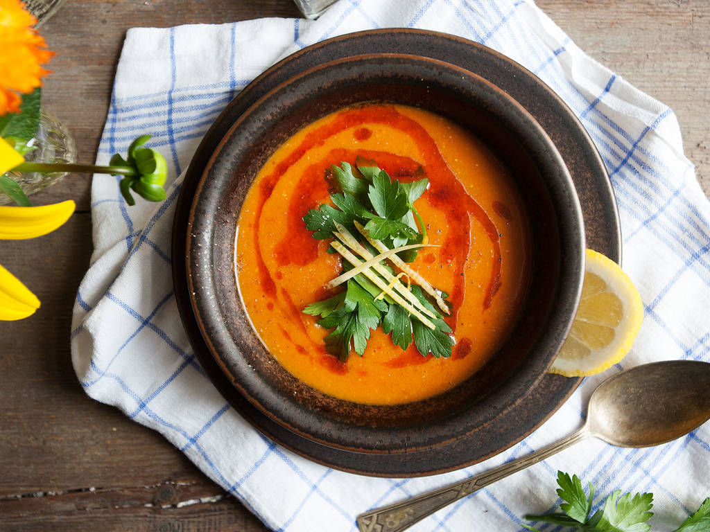 Turkish-inspired red lentil soup