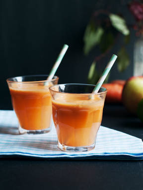 Carrot, apple, and ginger juice