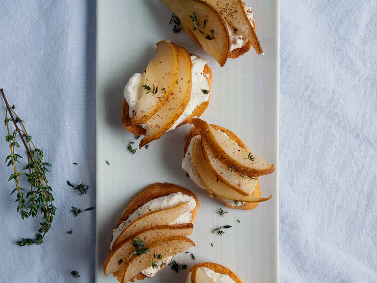 Ricotta toasts with honey-roasted pears